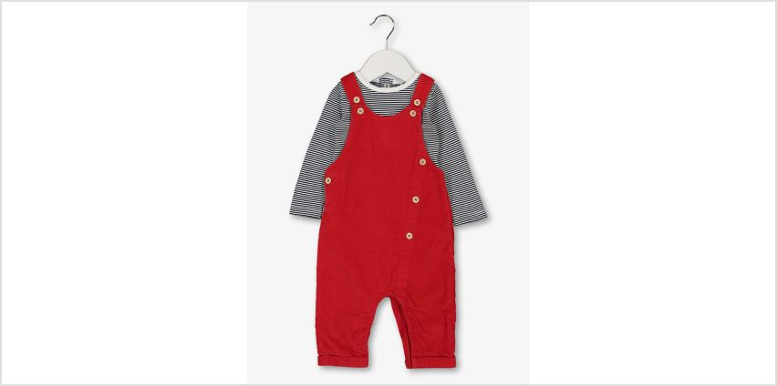 Red Dungaree & Stripe Bodysuit Set from Argos