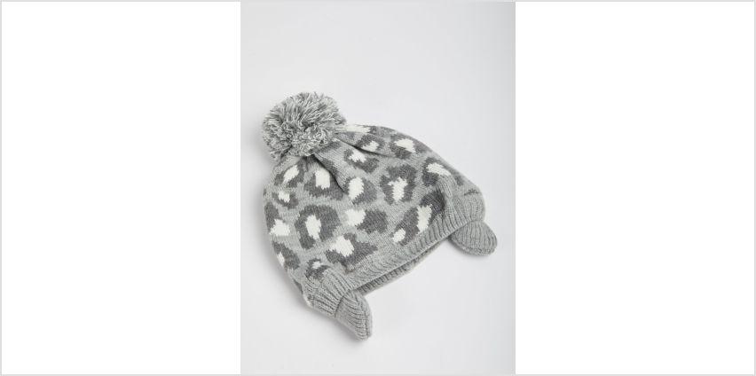 Grey Leopard Print Beanie Hat from Argos