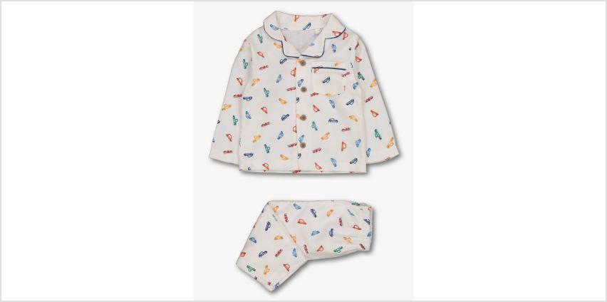 White Car Print Woven Pyjamas from Argos