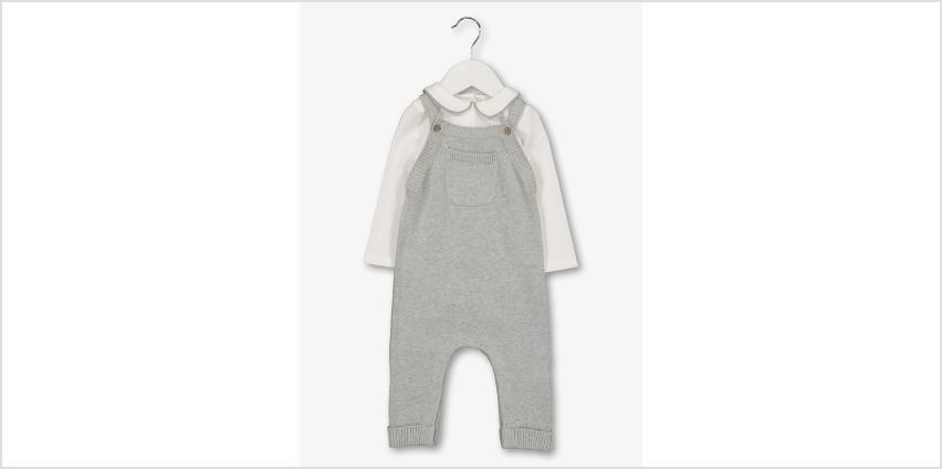 Grey Knitted Dungarees & Bodysuit from Argos