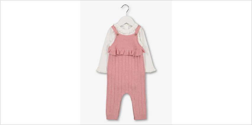 Pink Knitted Dungarees & Bodysuit from Argos