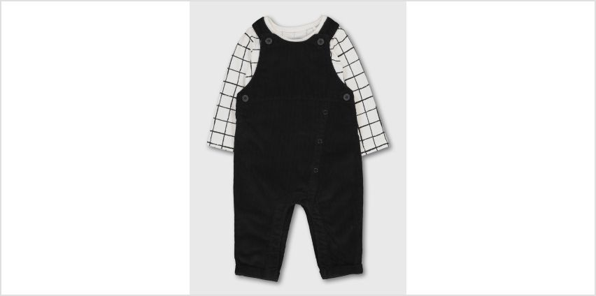 Black Cord Fashion Dungaree & Bodysuit Set from Argos