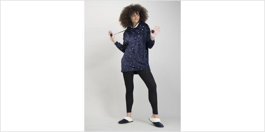 Navy Star Longline Hooded Fleece Pyjama Jumper from Argos