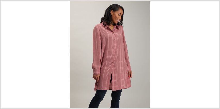 Pink Check Longline Shirt from Argos