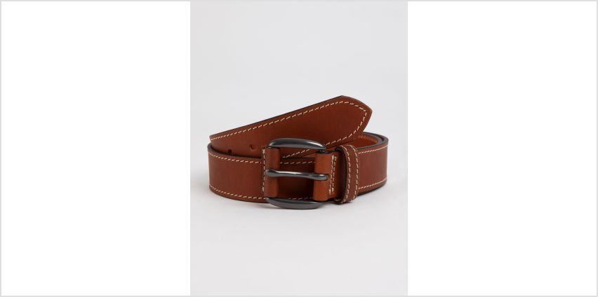 Tan Chunky Stitch Genuine Leather Belt from Argos