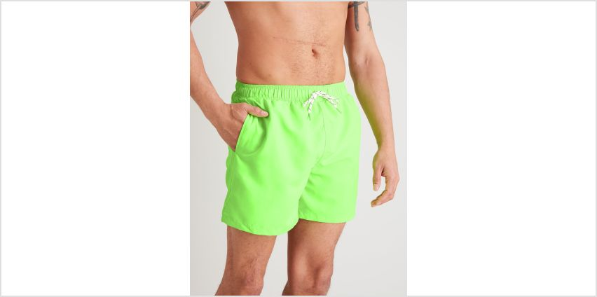 Neon Green Recycled Shortie Swim Shorts from Argos
