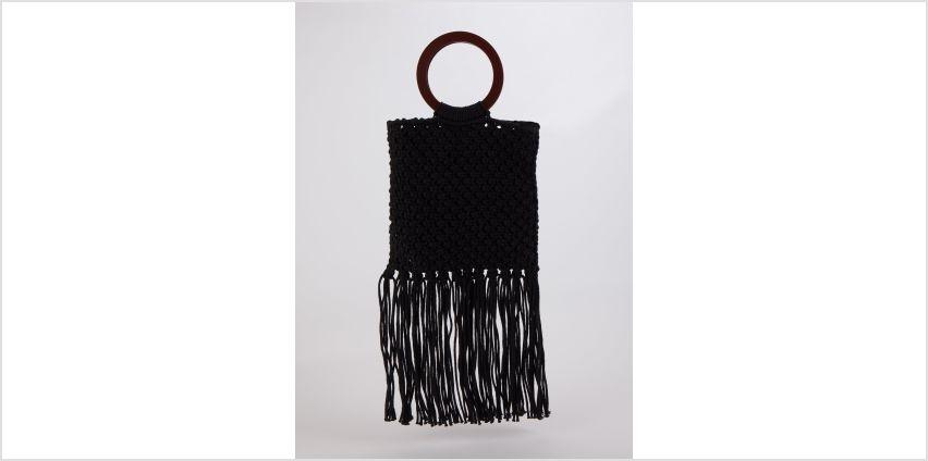 Black Macrame Handheld Bag - One Size from Argos