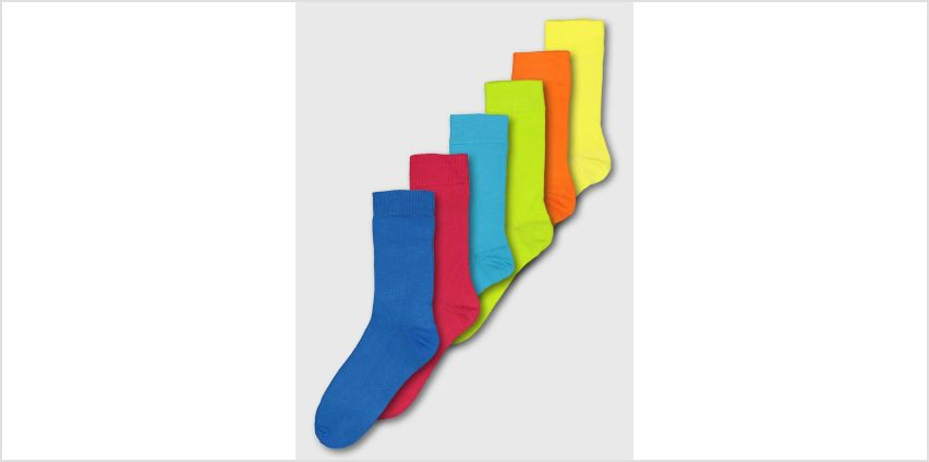 Tropical Brights Stay Fresh Socks 7 Pack from Argos