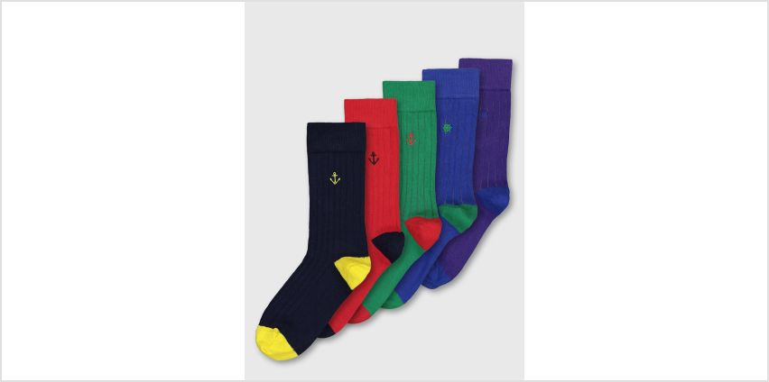 Multicoloured Nautical Embroidery Rib Trouser Socks 5 Pack from Argos