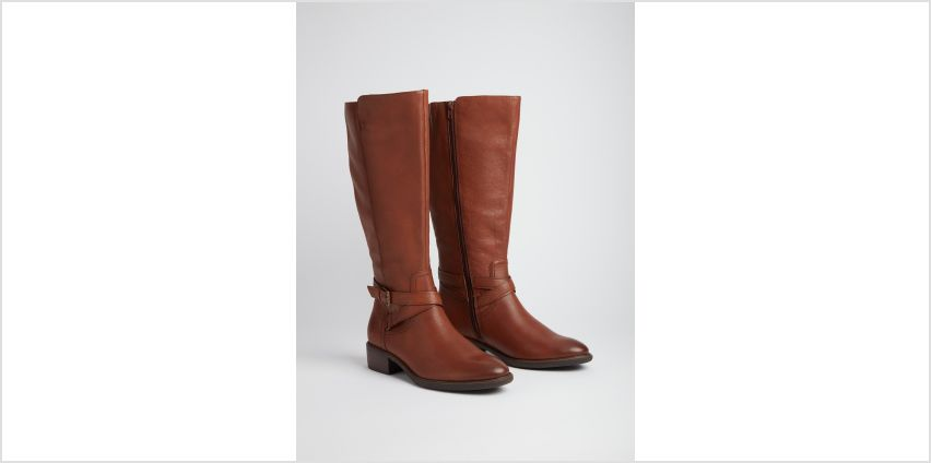 Sole Comfort Tan Wide Calf Leather Riding Boots from Argos