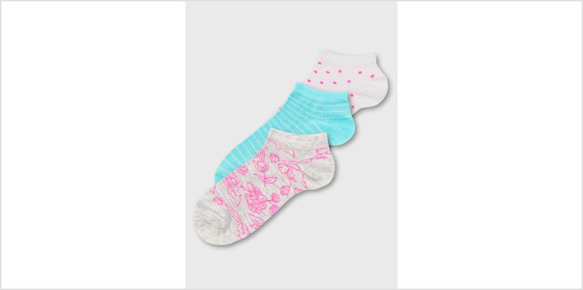 Pink & Blue Neon Floral Trainer Sock 3 Pack - 4-8 from Argos