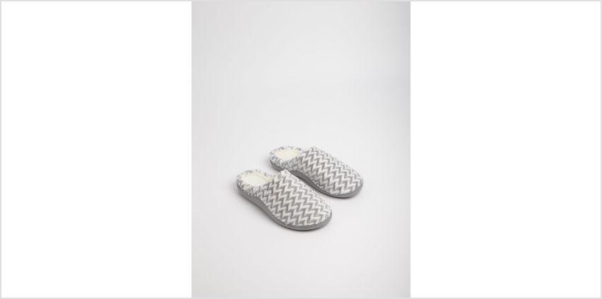 Grey Zigzag Mule Slippers from Argos