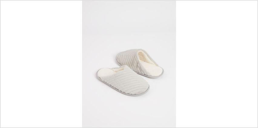 Grey Faux Fur Textured Stripe Mule Slippers from Argos