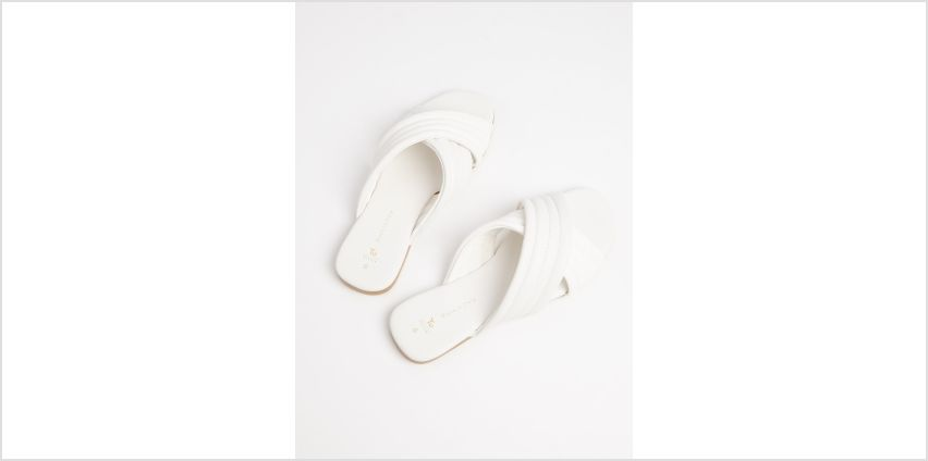 White Faux Leather Padded Mules from Argos