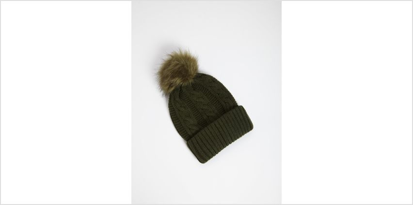 Khaki Cable Knit Pom Pom Hat - One Size from Argos