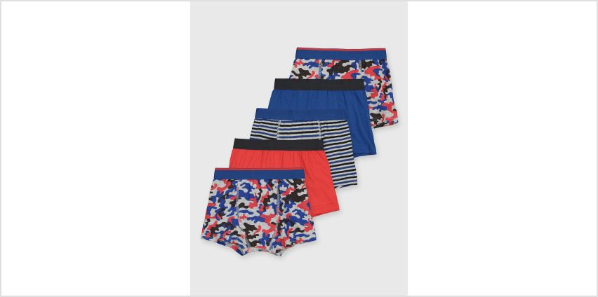 Blue Camouflage Trunks 5 Pack from Argos