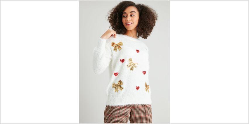 Christmas Eyelash Fluffy Sequin Jumper from Argos