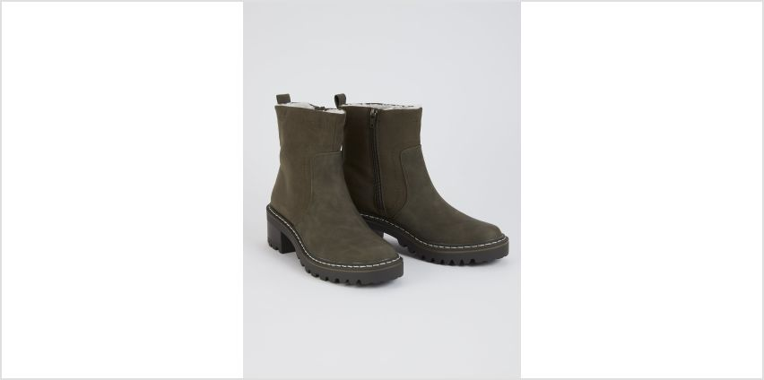 Sole Comfort Khaki Faux Leather Chunky Boots from Argos