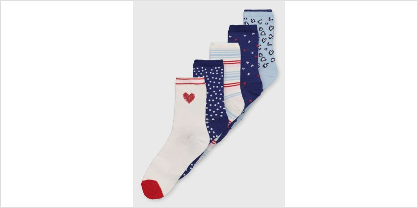 Assorted Pattern Ankle Socks 5 Pack - 4-8 from Argos