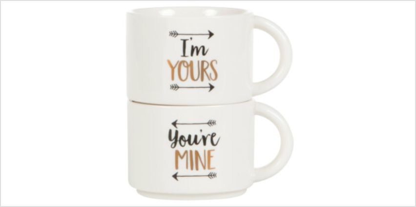 Sass & Belle Set of 2 You're Mine and I'm Yours Stacking Mugs from I Want One Of Those