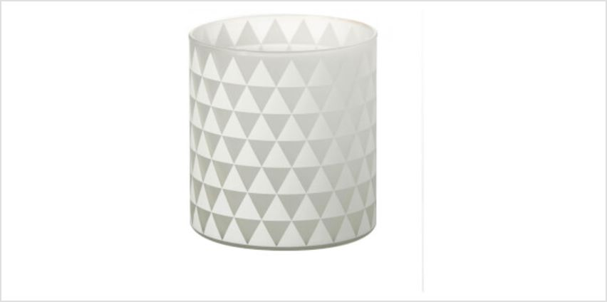 Parlane Triangles Glass Tealight Holder - White (13 x 12cm) from I Want One Of Those