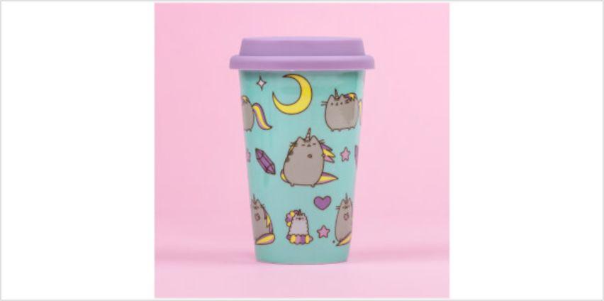 Pusheen Pattern Ceramic Travel Mug - Pink from I Want One Of Those
