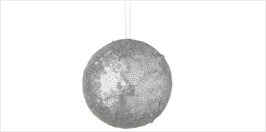 Parlane Sequin Hanging Decoration (10 x 10cm) - Silver Bauble from I Want One Of Those