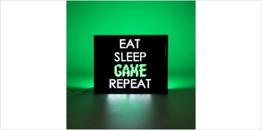 Eat Sleep Game Repeat LED Light from I Want One Of Those
