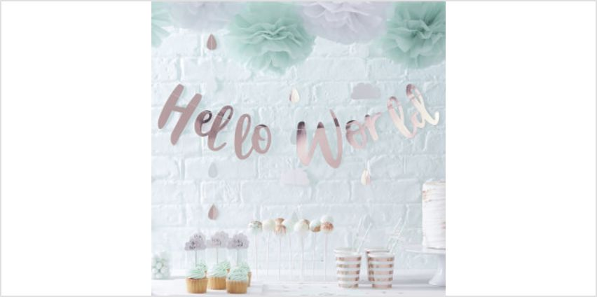 """Ginger Ray """"Hello World"""" Bunting - Rose Gold from I Want One Of Those"""