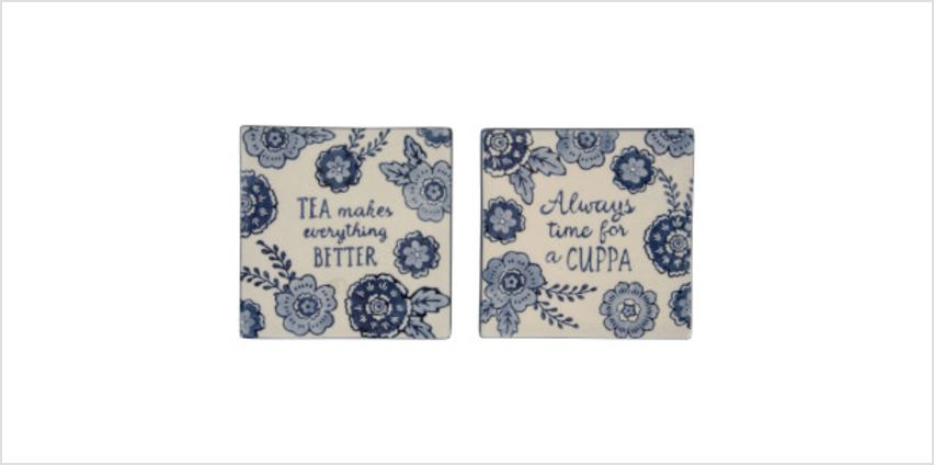 Sass & Belle Set of 2 Blue Floral Tea Makes Everything Better Coasters from I Want One Of Those