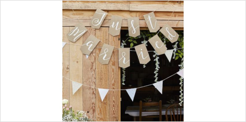 """Ginger Ray """"Just Married"""" Bunting - Hessian from I Want One Of Those"""