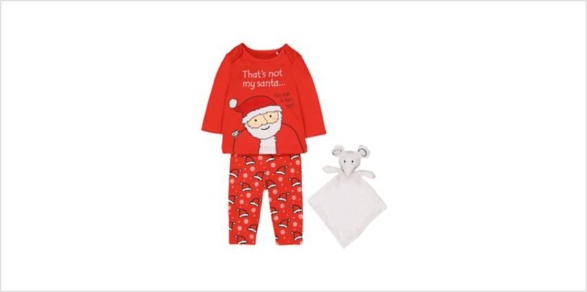 that's not my santa pyjamas and mouse comforter toy from Mothercare