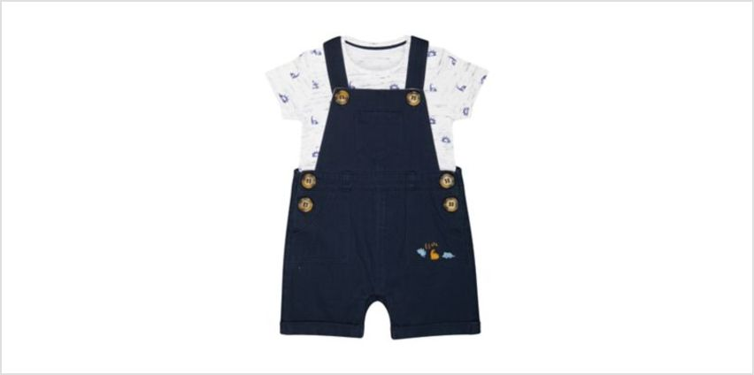 navy woven bibshorts and dinosaur bodysuit set from Mothercare