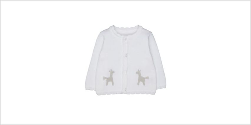 white crochet character cardigan from Mothercare