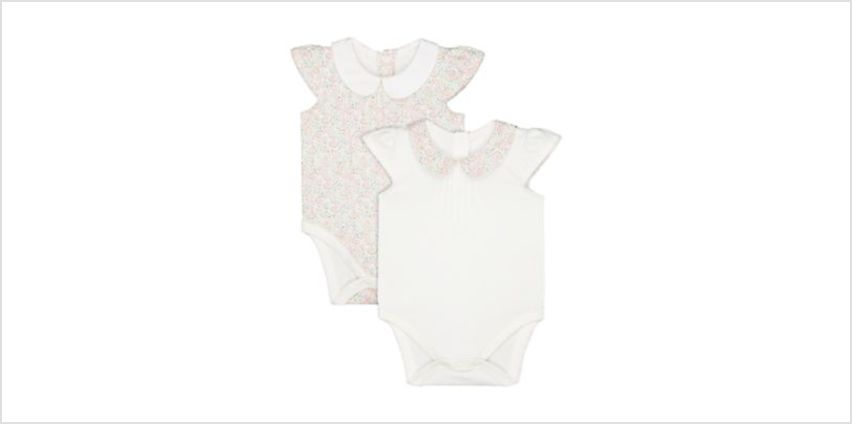 floral and white collared bodysuits – 2 pack from Mothercare