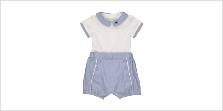 white and blue bodysuit and shorts set from Mothercare
