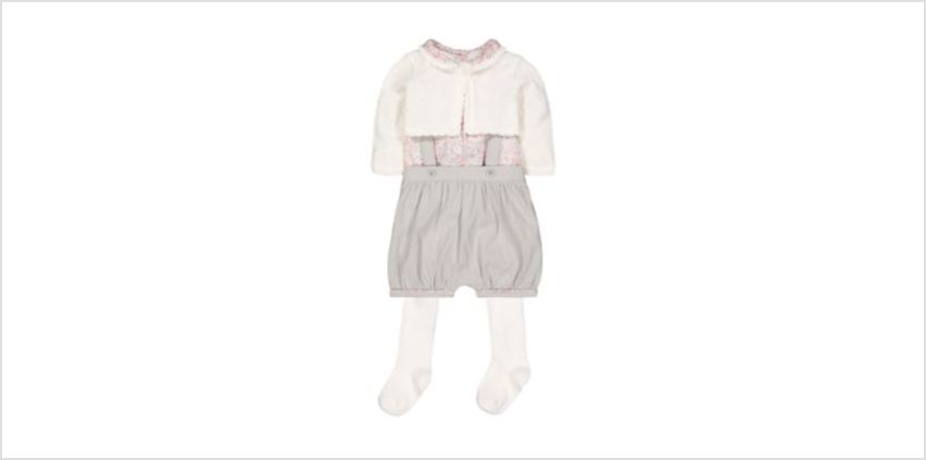 bibshorts, blouse, cardigan and tights set from Mothercare
