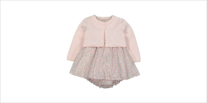 pink cardigan, floral dress and knickers set from Mothercare