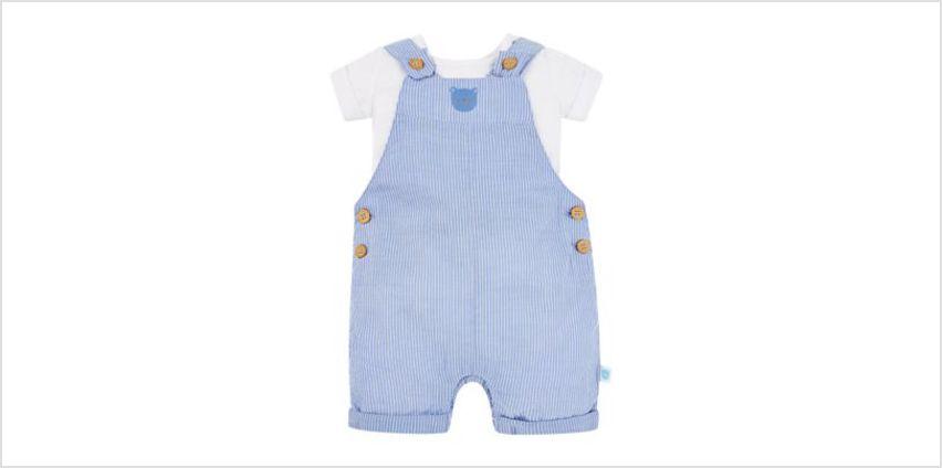 stripe bear bibshorts and white bodysuit set from Mothercare