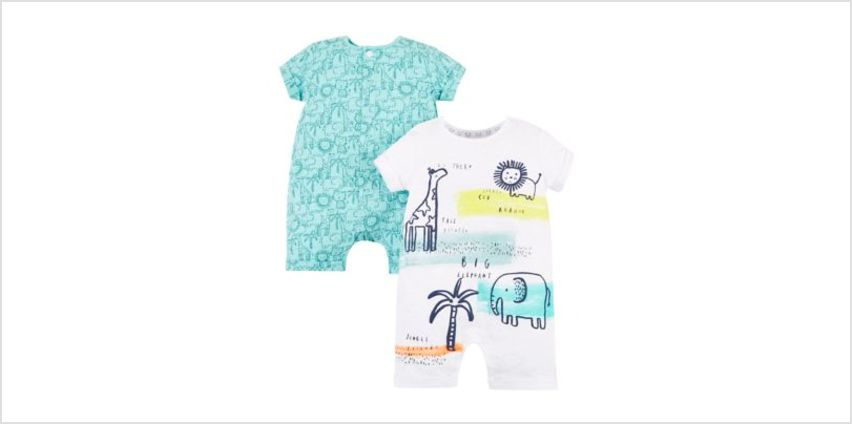 jungle animal rompers – 2 pack from Mothercare