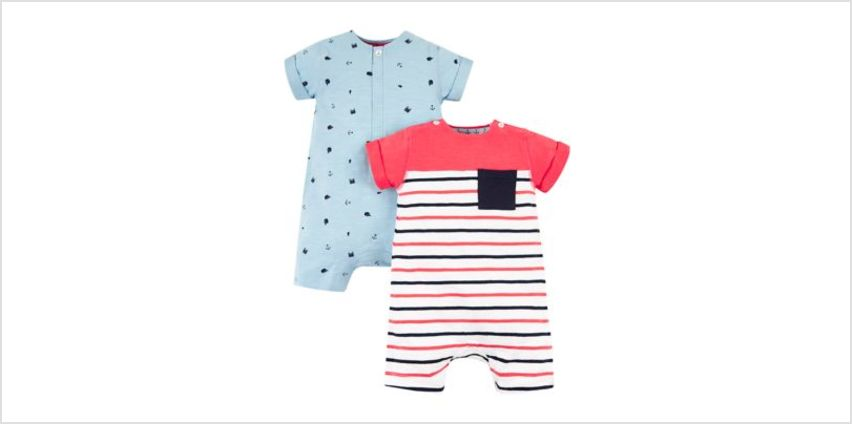 red stripe and blue whale rompers – 2 pack from Mothercare