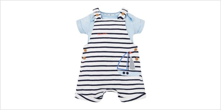 stripe boat bibshorts and blue bodysuit set from Mothercare