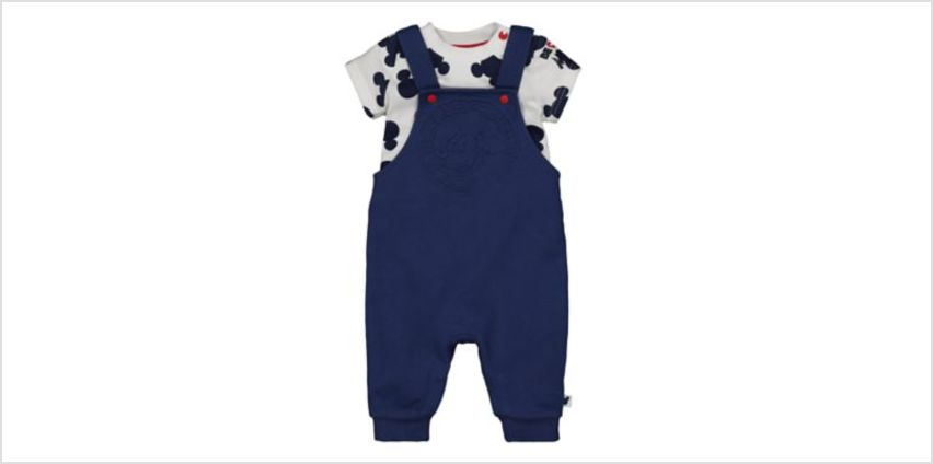 Disney baby mickey mouse dungarees and bodysuit set from Mothercare