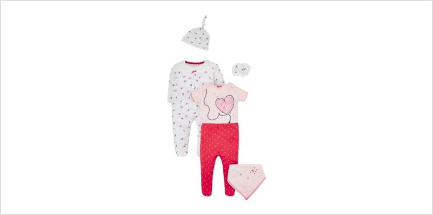 seaside floral and hearts 6-piece set from Mothercare