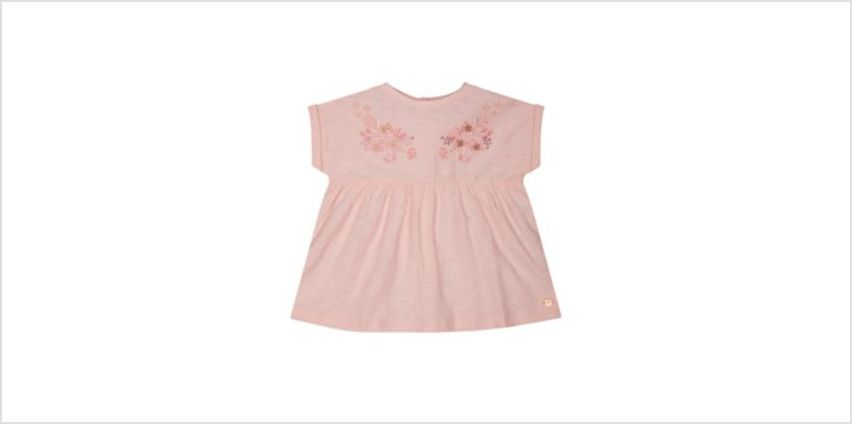 embroidered pink smock t-shirt from Mothercare