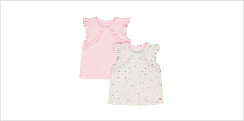 spot grey marl and pink vests – 2 pack from Mothercare