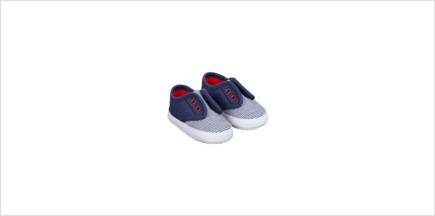 navy stripe laceless canvas pram shoes from Mothercare