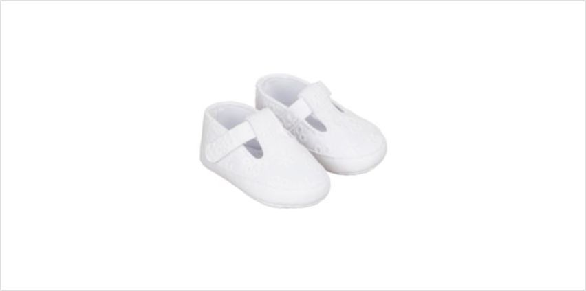 white broderie t-bar pram shoes from Mothercare