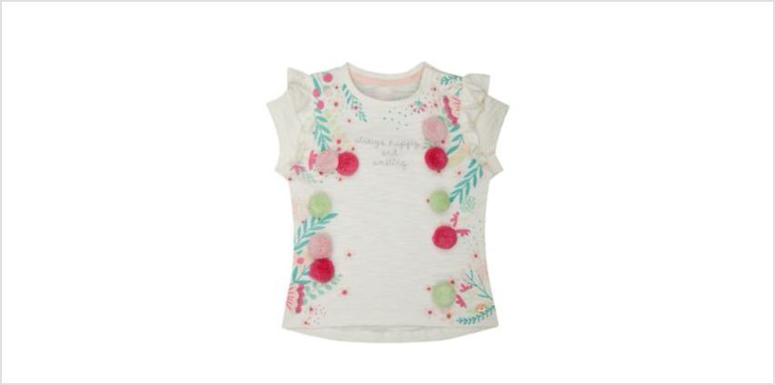white floral pom pom t-shirt from Mothercare