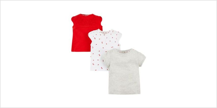 red, berry and grey t-shirts - 3 pack from Mothercare